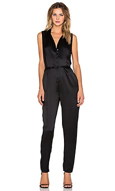 Equipment Adalyn Sandwashed Satin Sleeveless Jumpsuit in True Black