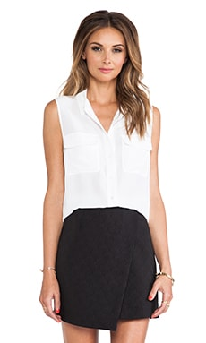Equipment Sleeveless Slim Signature Blouse in Bright White