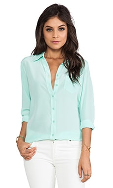 Equipment Brett Vintage Wash Blouse in Ice Green