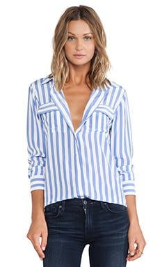 Slim Signature Vertical Stripe Blouse in Jewel & Bright White