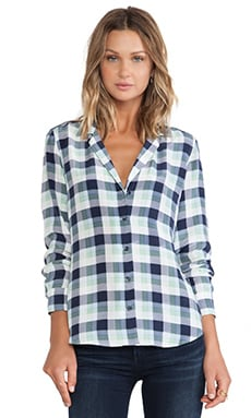 Equipment Adalyn Paramount Plaid Blouse in Bright White & Peacoat