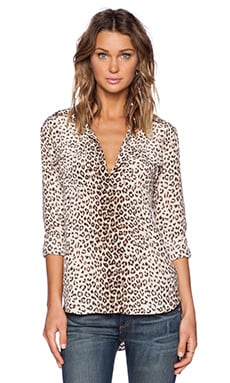 Equipment Slim Signature Leopard Print Blouse in Natural Multi
