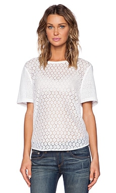 Equipment Riley Geo Lace Tee in Bright White