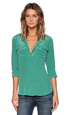 Equipment Slim Signature Blouse in Ivy Green