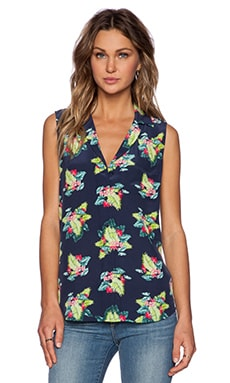 Equipment Sleeveless Keira Tropical Blouse in Peacoat Multi