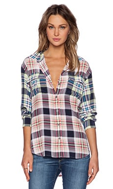 Equipment Contrast Signature Handbook Plaid Blouse in Bright White Multi