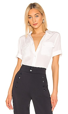 Equipment Slim Signature Short Sleeve Blouse in Bright White