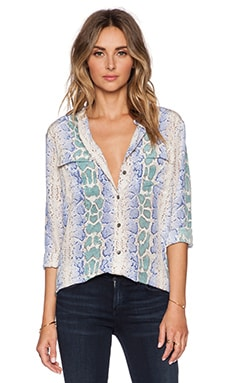 Equipment Slim Signature Python Blouse in Amparo Blue Multi