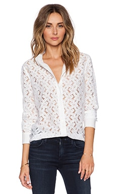 Equipment Brett Clean Daisy Lace Blouse in Bright White