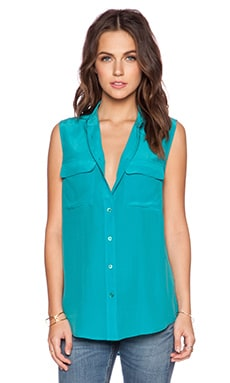 Equipment Slim Signature Sleeveless Blouse in Blue Grass