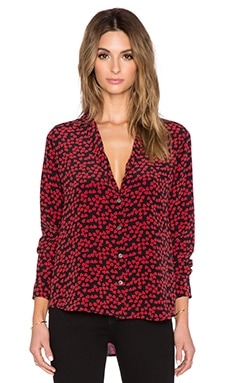 Equipment Endless Heart Adalyn Button Up Top in Cherry Red
