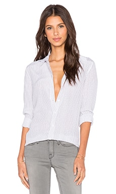 Equipment Poppy Pinstripe Shiloh Button Up Top in Bright White & True Black