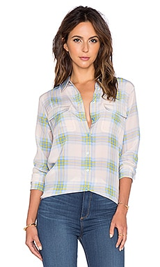 Equipment Barnaby Plaid Slim Signature Button Up Top in Chalk PInk & Chambray Multi