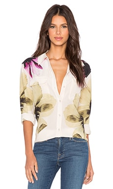 Equipment Digital Flower Signature Button Up Top in Chalk Pink Multi