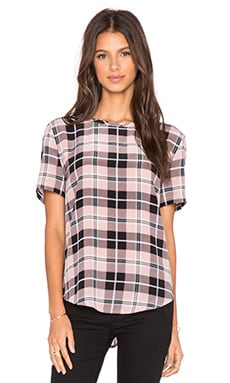 Equipment Riley Plaid Tee in Blush PInk & True Black Multi