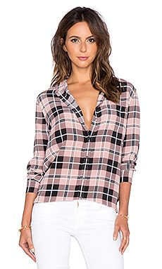 Equipment Reese Plaid Button Up Top in Blush PInk & True Black Multi