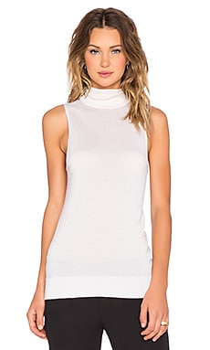 Bette Cashmere Silk Sleeveless Turtleneck en Ivoire