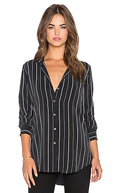 Equipment May Wall Street Pigment Striped Button Up in True Black & Marshmallow