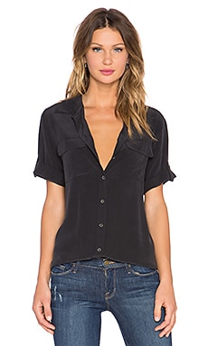 Super Vintage Wash Short Sleeve Slim Signature Top in True Black