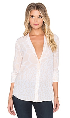 Collarless Engineered Cape Town Collage Print Slim Signature Button Up in Nude