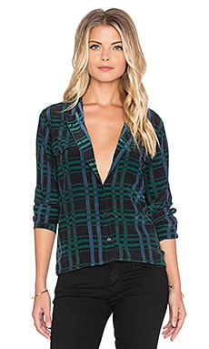 Equipment Slim Signature Deceptive Plaid Print Button Up in Ink Multi