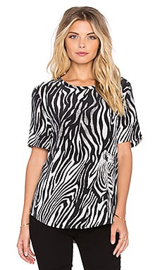 Equipment Riley Engineered Zebra Illusion Print Tee in Marshmallow & True Black
