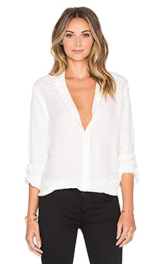 Equipment Henri Inverted Chevron Button Up in Bright White