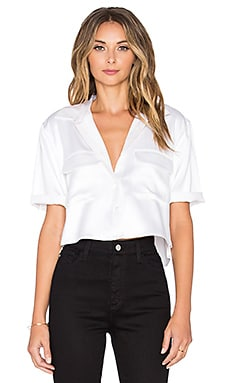 Equipment Short Sleeve Signature Silk Charmeuse Cropped Button Up in Bright White