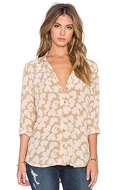 Equipment Adalyn Stamped Hearts Button Up in Kelp & Nude