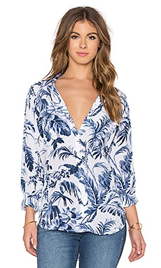 Equipment Signature Afternoon Luau Button Up in Bright White & Majolica Blue