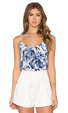 Equipment Layla Afternoon Luau Cami in Bright White & Majolica Blue