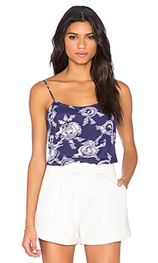 Equipment Cara Floral Print Cami in Ultra Marine & Bright White