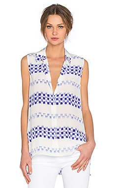 Milla Printed Tank in Nature White & Biro Blue