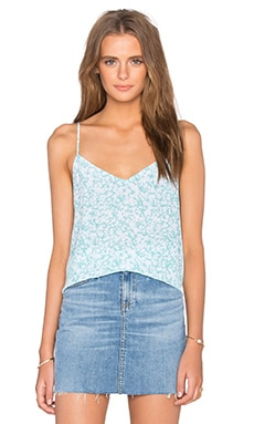 Layla Floral Print Cami in Mayan Green & Bright White