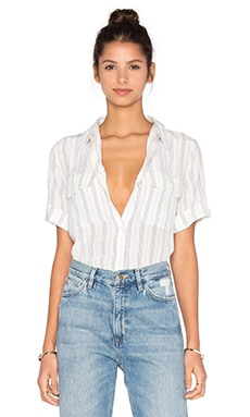 Short Sleeve Slim Signature Stripe Blouse