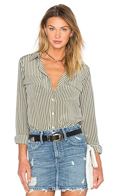 Equipment Slim Signature Stripe Blouse in Army Jacket