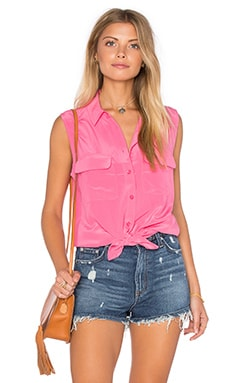 Equipment Sleeveless Slim Signature Tank in Happy Pink