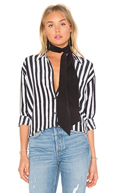 Kate Moss for Equipment Daddy Tie Neck Button Up in True Black & Nature White