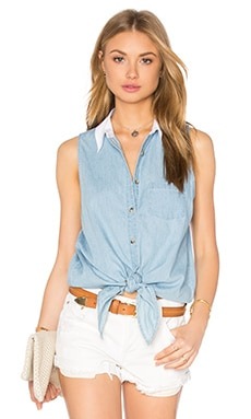 Equipment Mina Tie Front Sleeveless Tank in Sky Blue