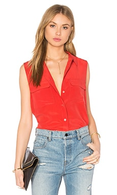 Sleeveless Slim Signature Tank en Aurora Red