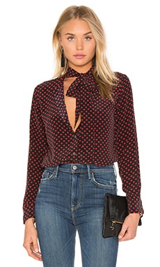 Kate Moss for Equipment Collarless Slim Signature Blouse in Cherry Red
