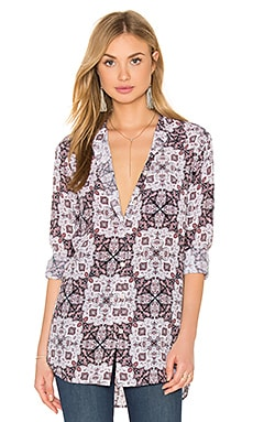 Reese Mosaic Print Button Up in Pile Pink