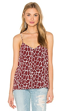 Equipment Layla Giraffe Print Cami in Burnt Scarlet