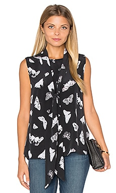 Poppy Tie Neck Silk Tank in True Black