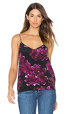 Equipment Layla Floral Print Cami in True Black & Hollyhock