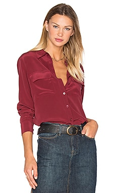 Equipment Slim Signature Silk Button Up in Burnt Scarlet