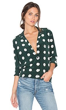 Keira Polka Dot Button Up in Scarab & Nature White