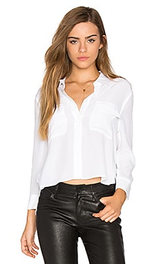 Cropped Signature Button Up in Bright White