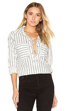 Knox Lace Up Blouse en Blanc Nature & Pur Noir