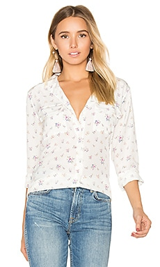 Slim Signature Floral Print Button Up in Nature White Multi